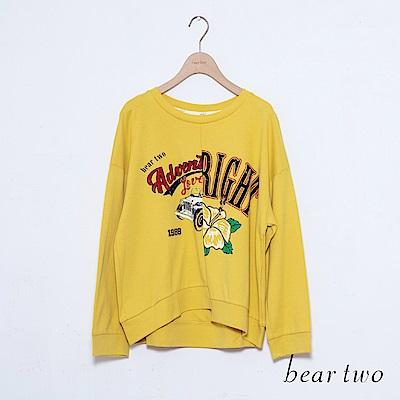 beartwo 交錯設計美式印圖長袖上衣(三色)