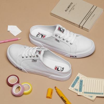 FILA COMO MULE 中性復古帆布鞋-白 4-C623T-110