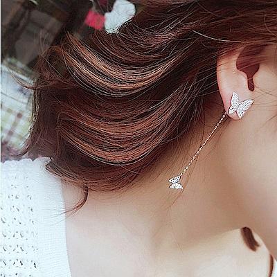 梨花HaNA 韓國S925銀蝴蝶花園遊戲耳線耳環