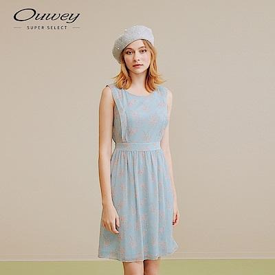 OUWEY歐薇 典雅花卉印花洋裝(藍)