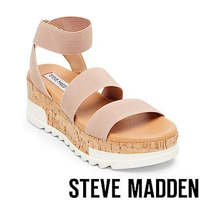 STEVE MADDEN-BANDI 彈性繫帶軟木厚底涼鞋-粉紅