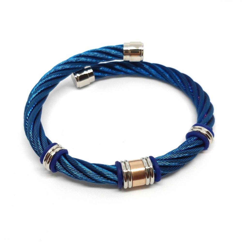 CHARRIOL 夏利豪 Celtic藍鋼索手環+PVD黑
