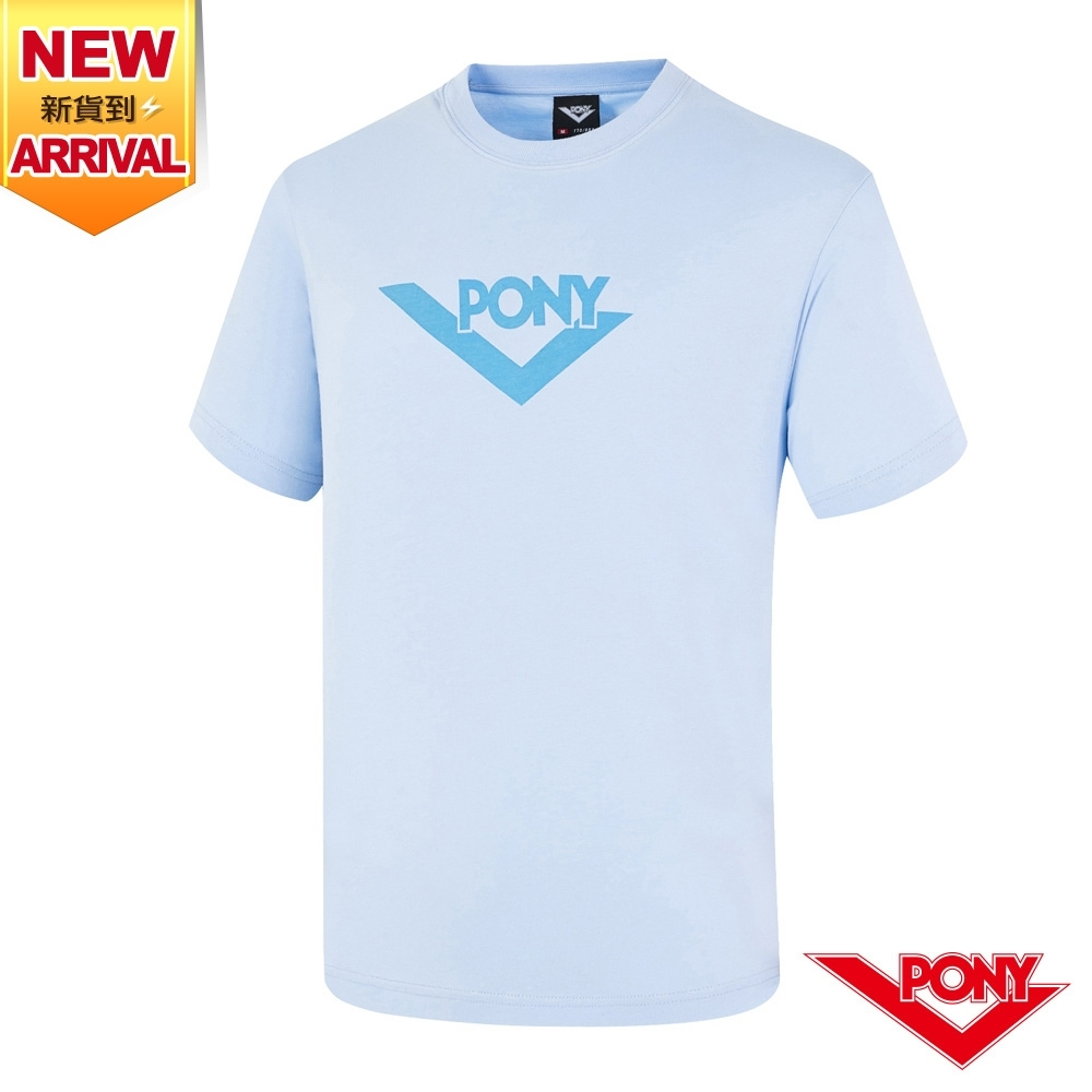 【PONY】LOGO短袖T恤上衣 男款-藍
