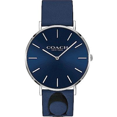 COACH Thompson 文青時尚Logo手錶(14602418)-藍/41mm