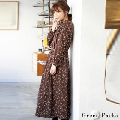 Green Parks 荷葉領口印花連身洋裝