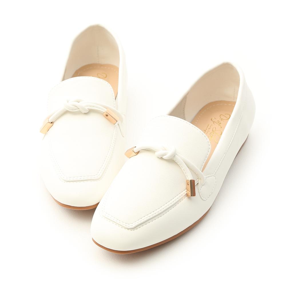 D+AF 好感輕著.小金飾綁結柔軟樂福鞋*白