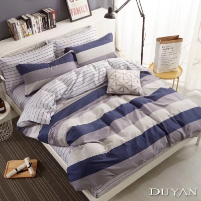 DUYAN竹漾-100%精梳純棉-單人床包被套三件組-都會之約 台灣製