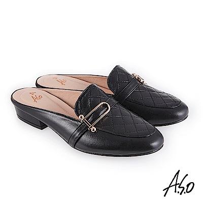 A.S.O 義式簡約 菱紋車線個性風穆勒鞋 黑