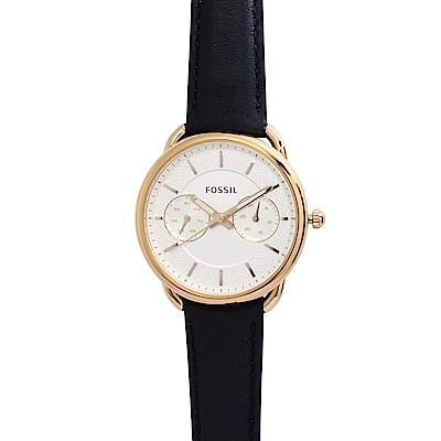 FOSSIL TAILOR白錶盤x玫瑰金錶框藍色皮革錶帶35mm