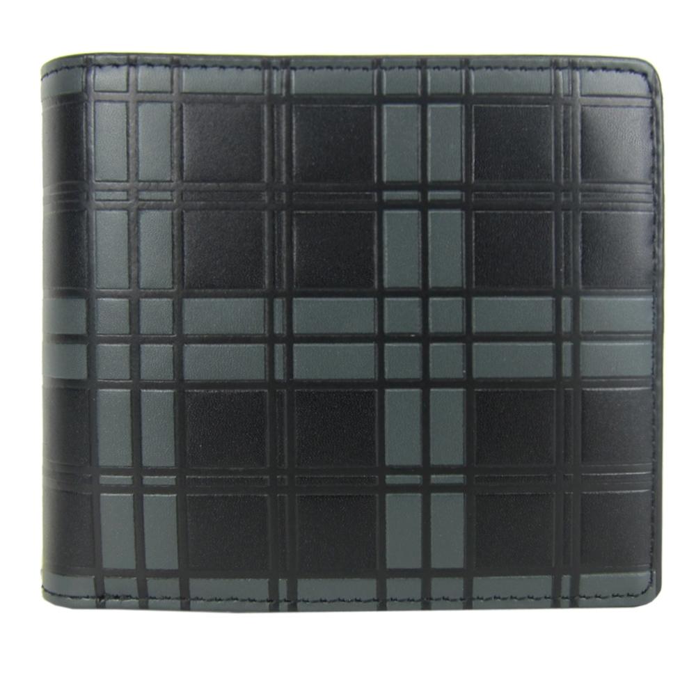 agnes b. 雙色立體格紋短夾(灰黑)(展示品)