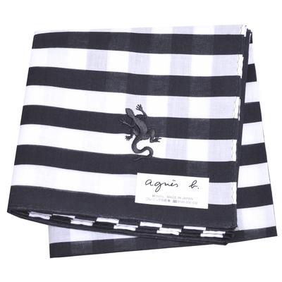 agnes b 條紋品牌蜥蜴圖騰LOGO刺繡帕領巾(黑白底)