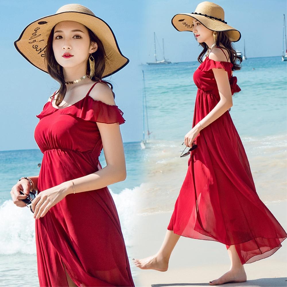 DABI 韓國風甜美系帶雪紡露背女神夏沙灘長裙海邊無袖洋裝