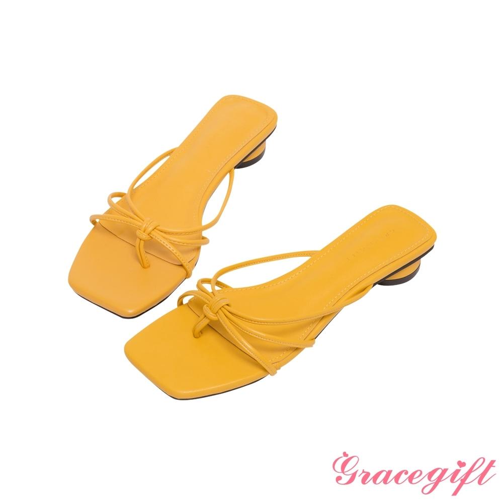 Grace gift-細帶夾腳圓低跟涼拖鞋 黃