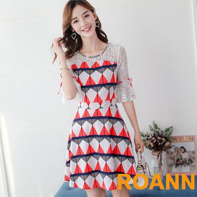圓領拼接縷空蕾絲五分袖短款洋裝 (共三色)-ROANN