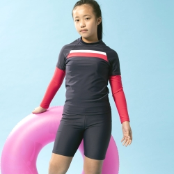 聖手牌 兒童泳裝 紅橫飾長袖防曬防寒兩件式中童泳裝水母裝