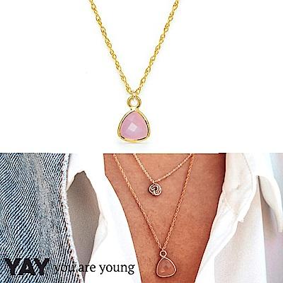 YAY You Are Young 法國品牌 Riviera玫瑰粉玉石項鍊 金色 蔚藍海岸