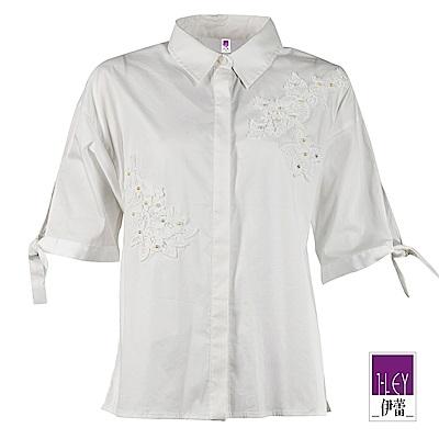 ILEY伊蕾 蕾絲造型連袖拼接襯衫上衣 (白)