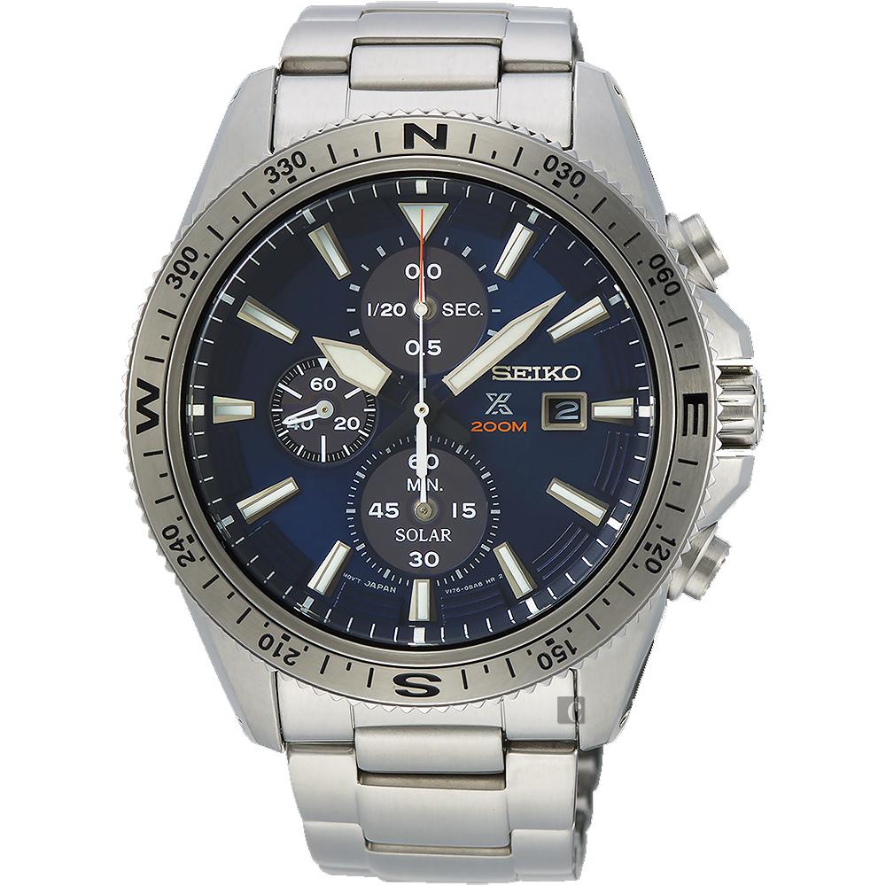 SEIKO精工 PROSPEX 太陽能計時手錶(SSC703P1)-藍/44mm