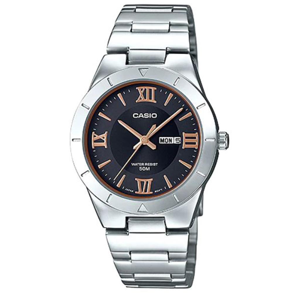 CASIO 經典簡約羅馬指針不鏽鋼錶-黑面(LTP-1410D-1A)/31mm
