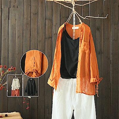 稀疏麻棉麻襯衫外套防曬上衣-Y4537-設計所在