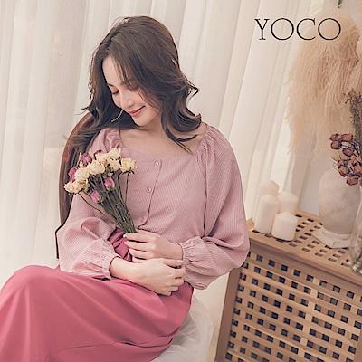 東京著衣-yoco 自然輕肌方領條紋微澎袖上衣-S.M.L(共一色)