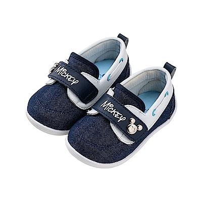 迪士尼童鞋 米奇 魔鬼氈可愛飾扣寶寶鞋-藍
