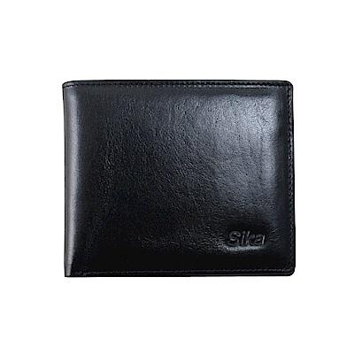 SIKA義大利素面牛皮短皮夾A8219-03質感黑