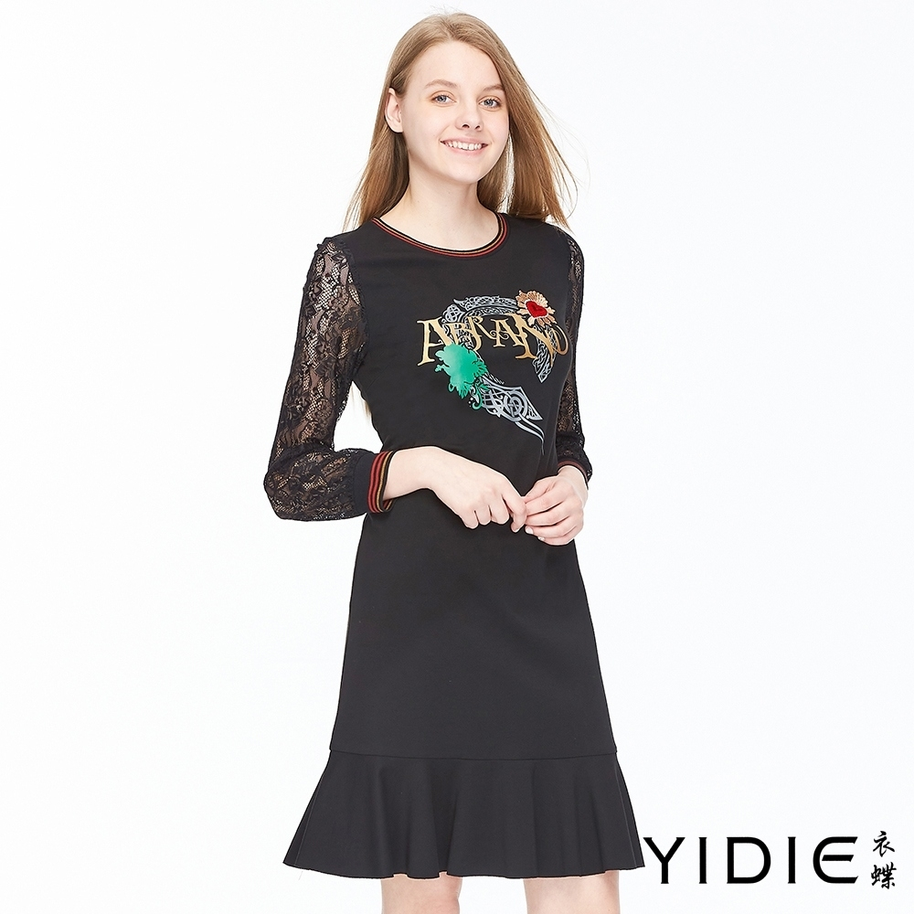 YIDIE衣蝶 優雅蕾絲長袖短洋裝-黑