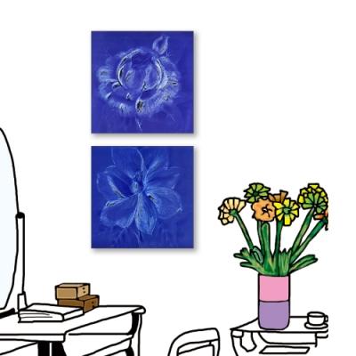 24mama掛畫-二聯式 藝術花卉 手繪插畫風無框畫 30X30cm-花卉速寫1