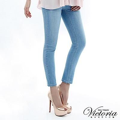 Victoria 彩虹貼鑽小直筒褲-女-淺藍