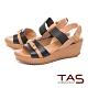 TAS 牛皮扣帶一字楔型涼鞋–人氣黑 product thumbnail 1