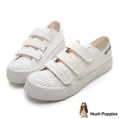 Hush Puppies 復古魔鬼氈餅乾鞋-白色