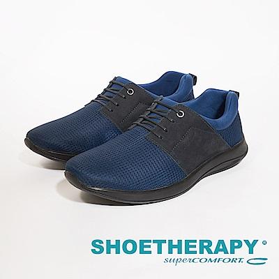 SAPATOTERAPIA 巴西型男針織布拼接皮革休閒鞋 男鞋-藍(另有黑)