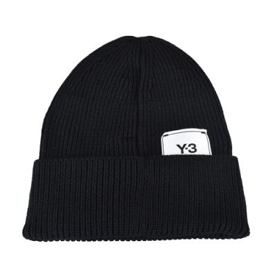 Adidas Y-3 CLASSIC BEANIE標籤LOGO針織毛線帽(黑)