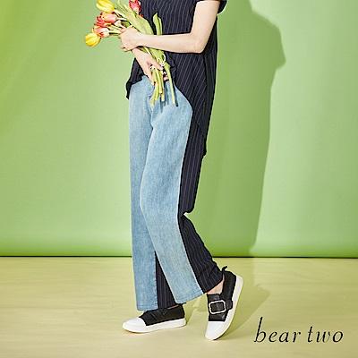 beartwo 前衛設計雙面異材質拼接寬褲(二色)