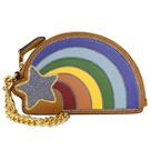 COACH亮粉流星彩虹造型全皮鍊帶手掛零錢包