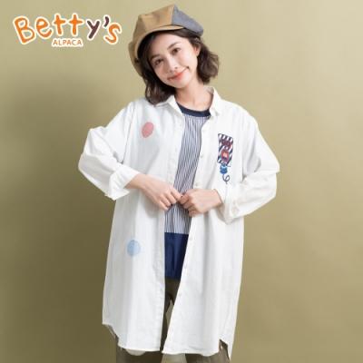 betty's貝蒂思 拼布繡線微透長版襯衫(白色)