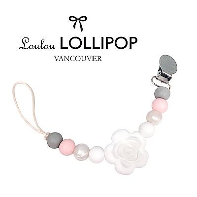 加拿大Loulou lollipop嬰幼兒串珠奶嘴夾/奶嘴鍊夾 山茶花系列-灰粉紅