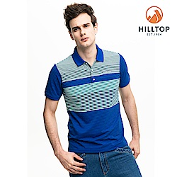 【hilltop山頂鳥】男款吸濕快乾抗菌彈性POLO衫S14MG4海藍/明亮白