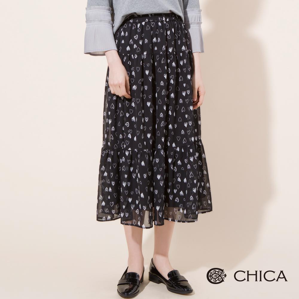 CHICA 大人系女孩手繪愛心圖騰蛋糕裙(1色)