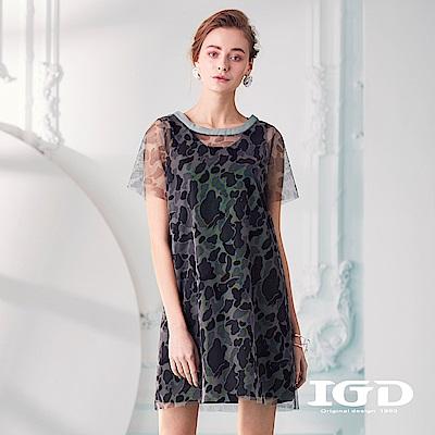 IGD英格麗 個性迷彩網紗兩件式洋裝-綠色