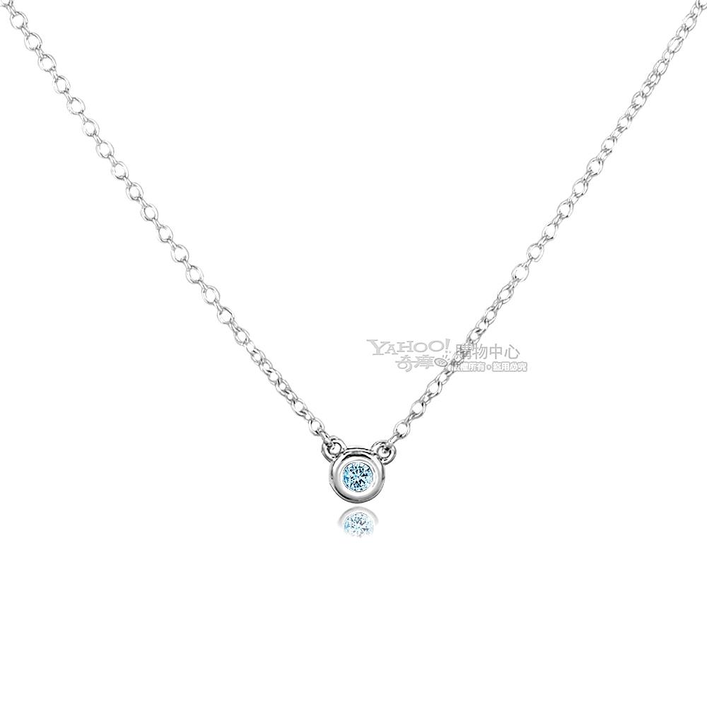 Tiffany&Co. 0.06克拉圓形海藍寶石純銀項鍊