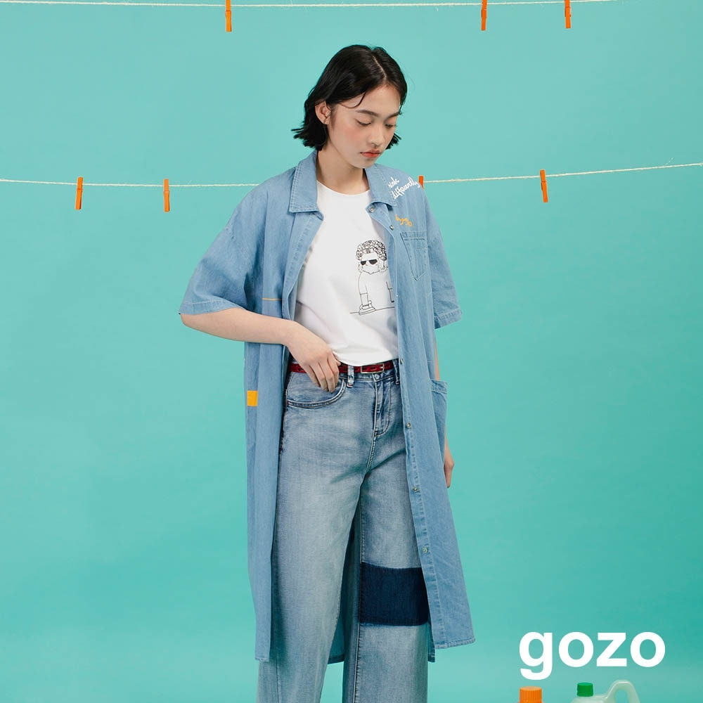 gozo-塗鴉牛仔短袖長襯衫(兩色) @ Y!購物