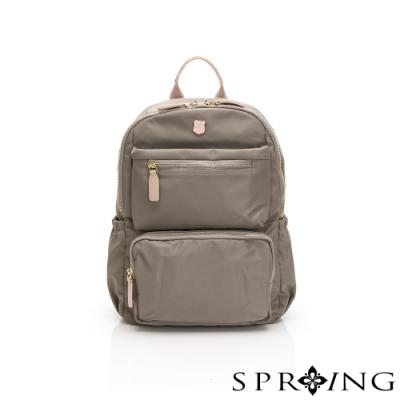 SPRING-未來質感系列尼龍雙口袋後背包-優雅灰棕