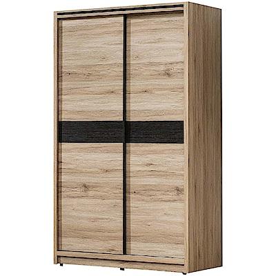 綠活居 湯瑪斯時尚3.9尺推門衣櫃(單抽屜+吊衣桿)-118x60x200cm免組