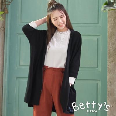 betty's貝蒂思 寬板蝙蝠袖針織罩衫外套(黑色)