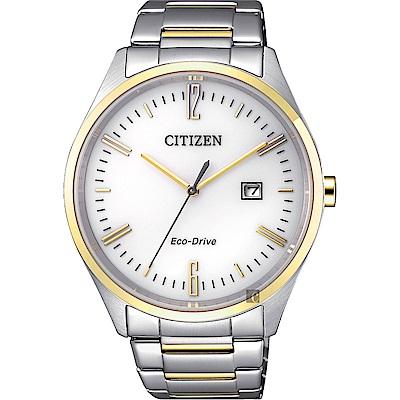 CITIZEN 星辰 Eco-Drive 光動能時尚手錶-白x金/42mm