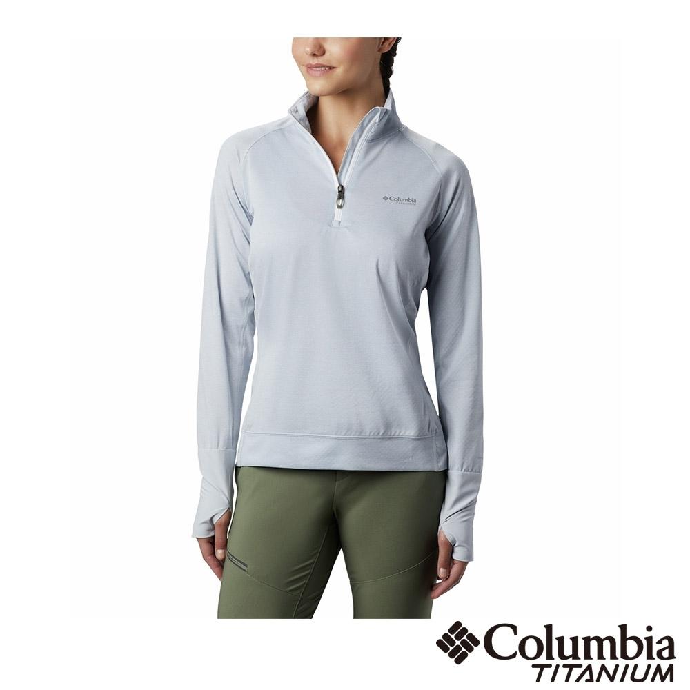 Columbia 哥倫比亞 女款- 鈦 涼感快排半開襟長袖上衣-白色 UAK14450NY