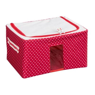 樂嫚妮 11L防潑水單視窗文件桌面收納箱/折疊收納箱-紅點-30X24X15cm