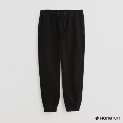 Hang Ten - 男裝 - 素面綁帶抽繩休閒長褲 - 黑